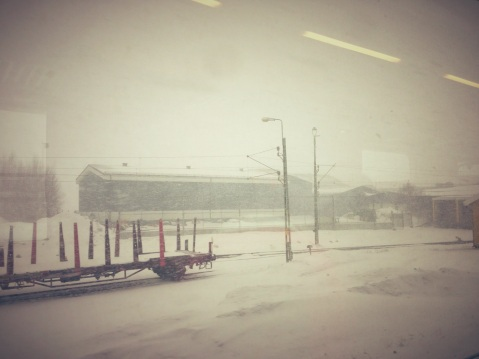 Snowed and windy, perhaps the forecast was right! @Östersund Centralstation.